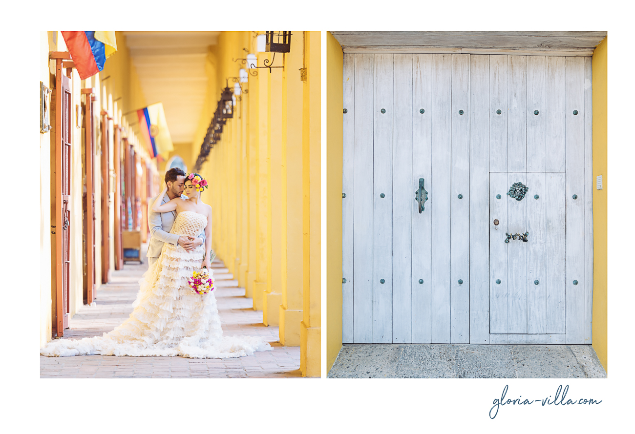 groom and bride in cartagena with door-1-3