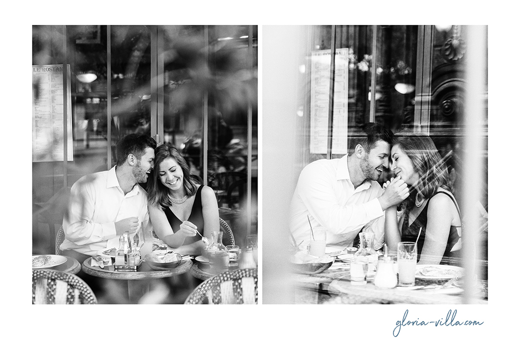 engagement shoot in parisian cafe