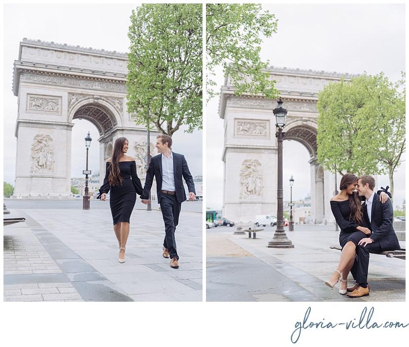 fotografo de compromiso en paris arco del triunfo gloria villa