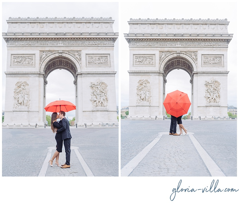 Engagement pictures in paris at arch of triumph