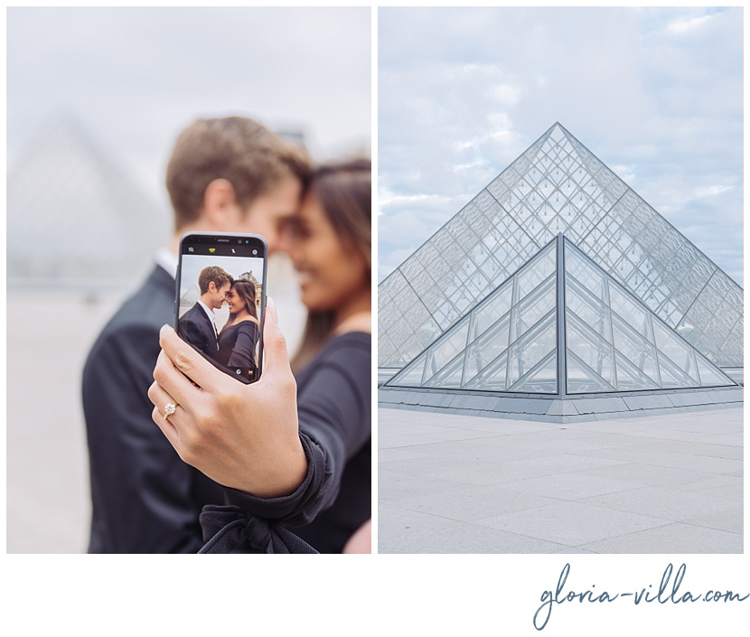 parisian proposal photographer louvre gloria villa