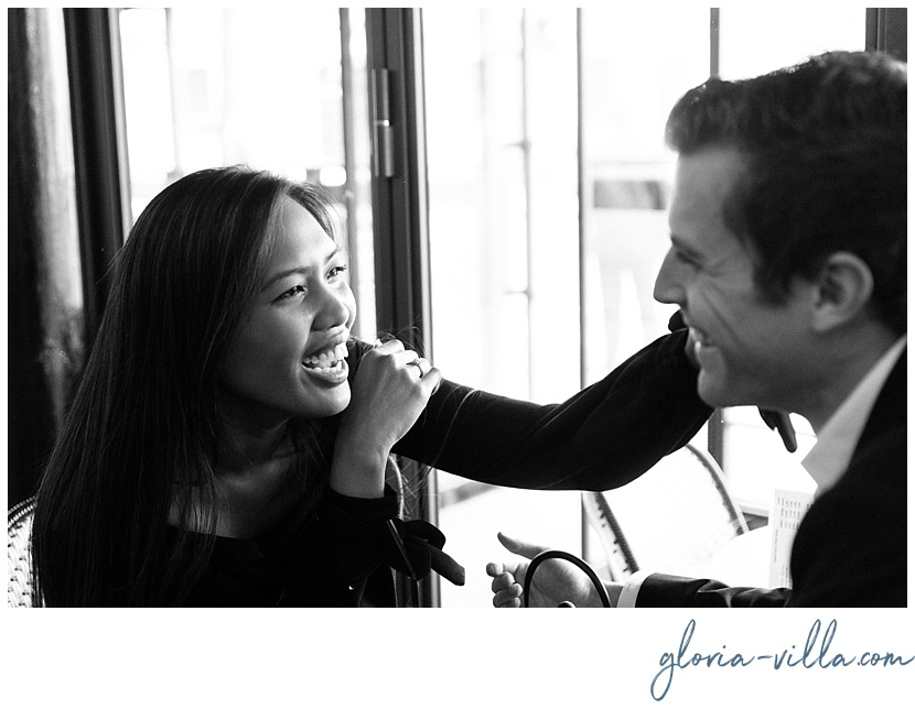gloria villa paris cafe candid engagement