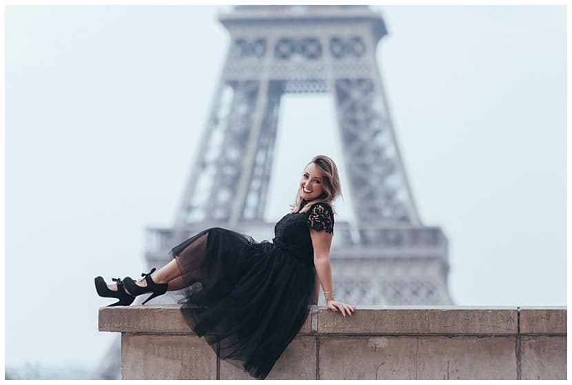 portraits at the Eiffel Tower boudoir photography in Paris by gloria villa