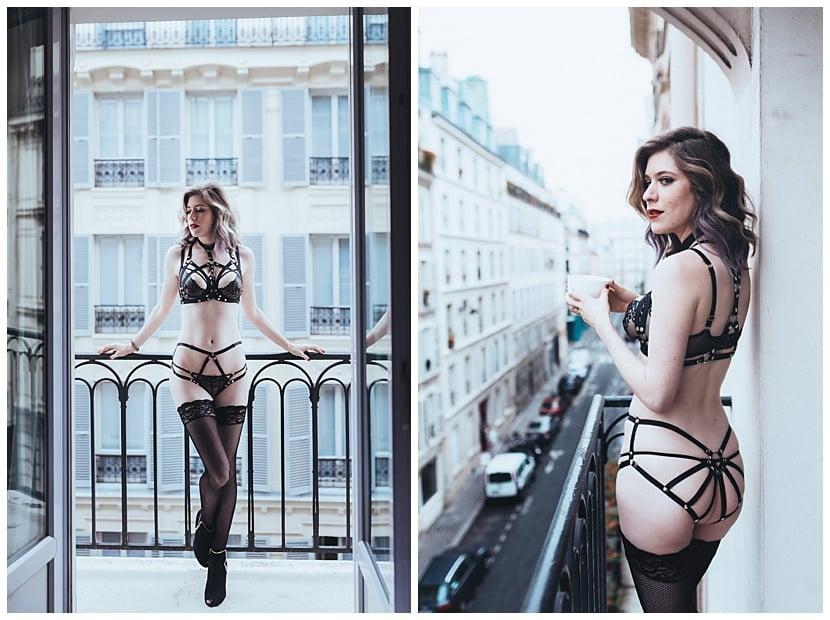 boudoir photography in Paris by gloria villa Parisian balcony