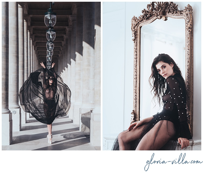 boudoir photosession in paris with the ballerina and photographer gloria villa
