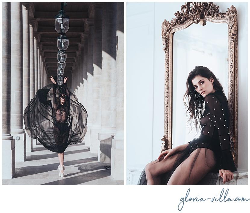 boudoir photosession in paris with the ballerina and photographer gloria villa