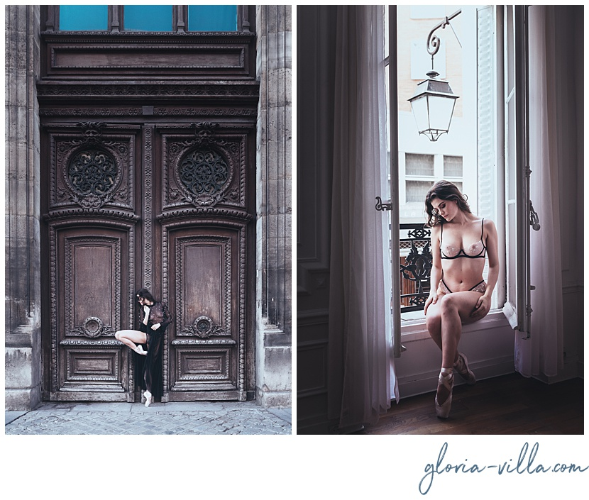 Parisian experiencience with boudoir photoshoot gloria villa and the ballerina