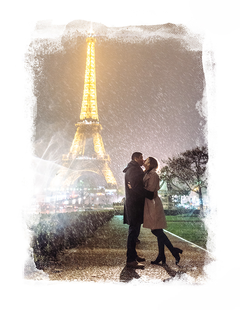 engagement in Paris at the Eiffel Tower with gloria villa