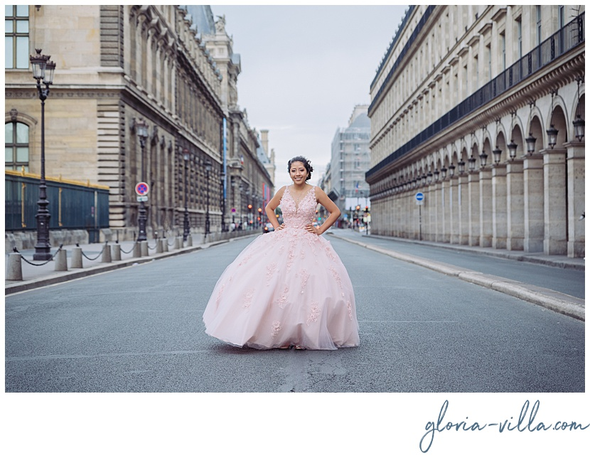 quinceanera party in paris with a photoshoot by photographer Gloria Villa