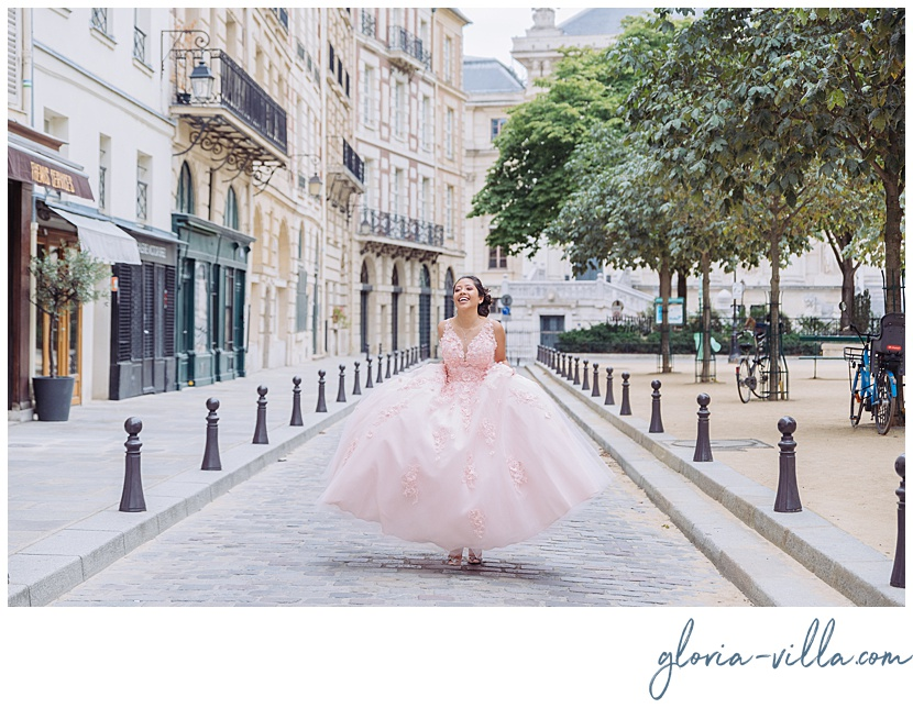 Quinceañera dresses inspiration during photoshoot by Paris photographer Gloria Villa