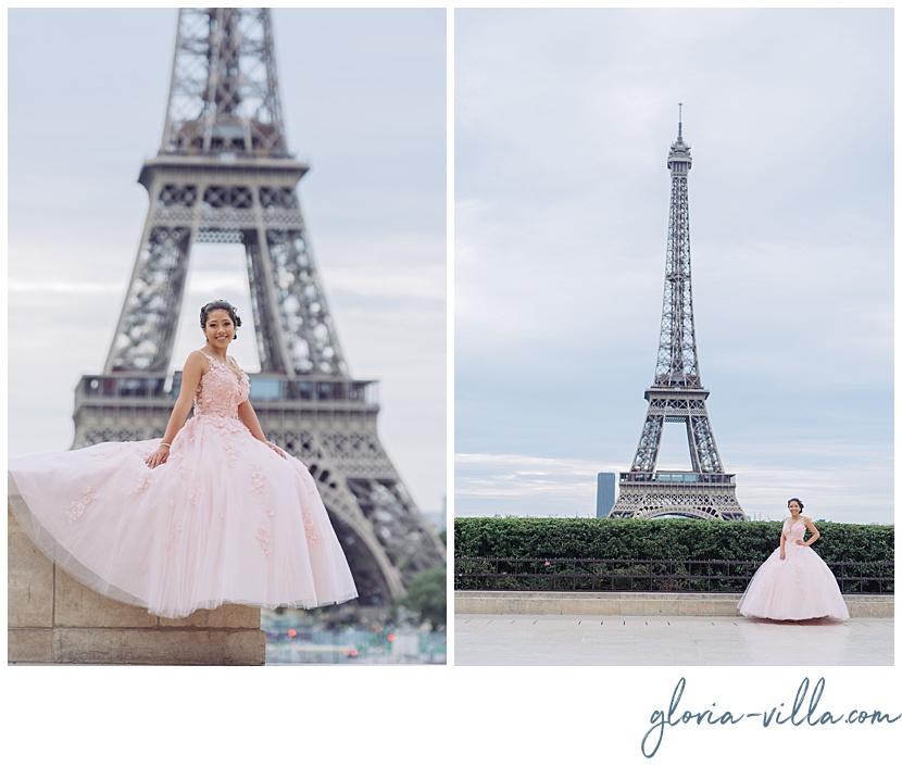 celebración de quinceañera en París torre eiffel con fotos por fotógrafa Gloria Villa