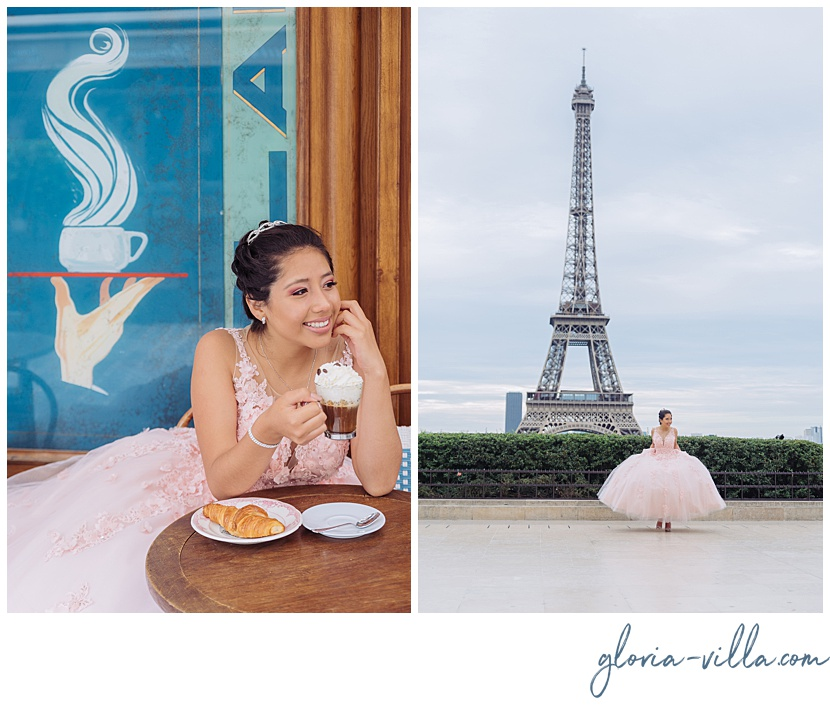 Quinceanera photoshoot at Parisian cafe and Eiffel Tower by Paris photographer Gloria Villa