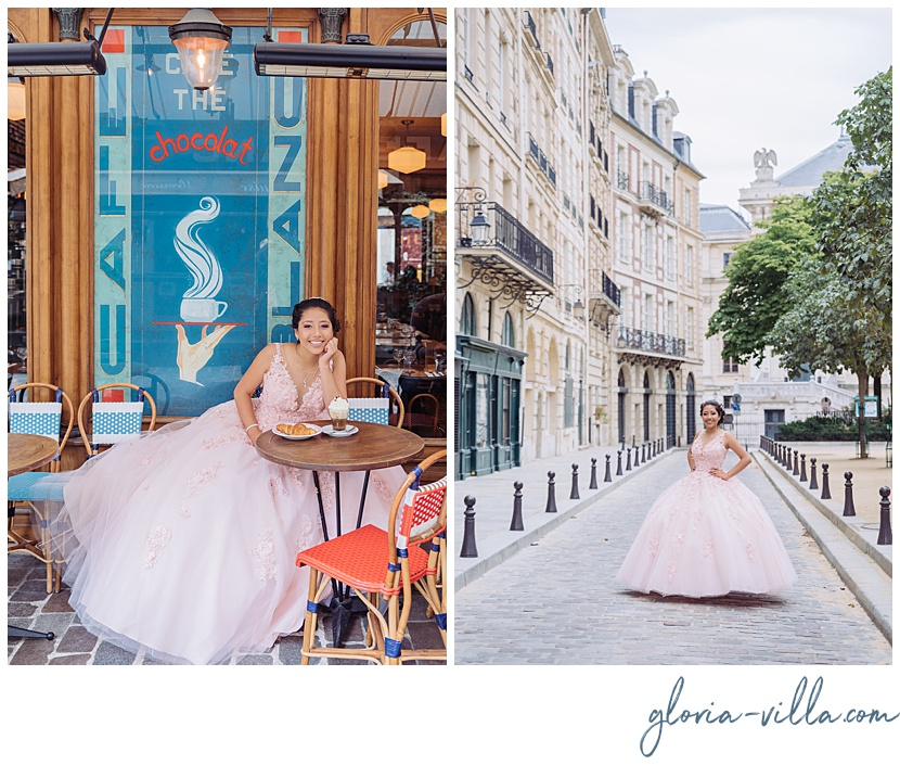 paris quinceanera photoshoot by gloria villa parisian cafe