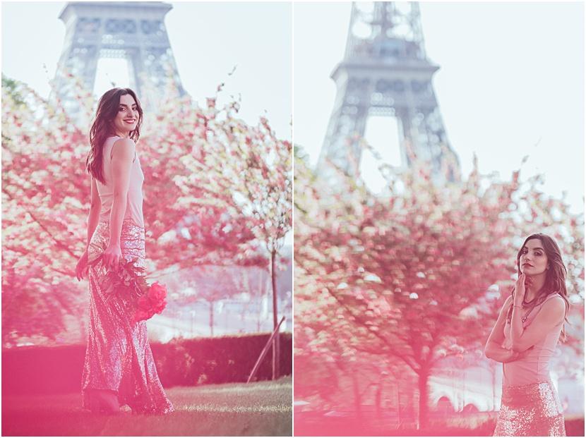 fotos en la torre Eiffel con Gloria Villa
