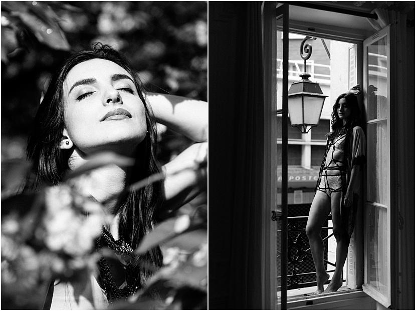 Fotos de boudoir en París en blanco y negro con Gloria Villa